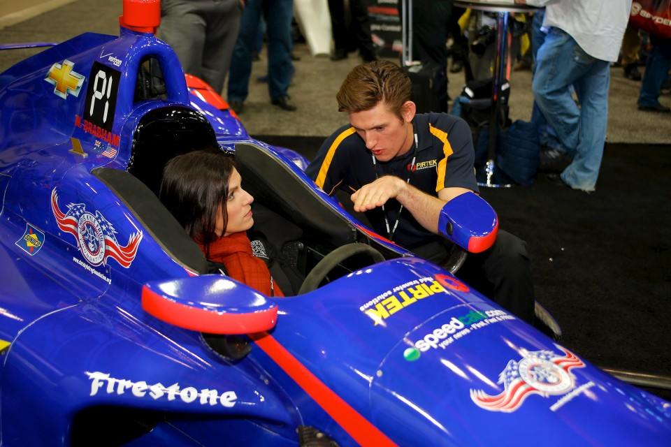 Taya Kyle gets comfortable in the PIRTEK Team Murray car