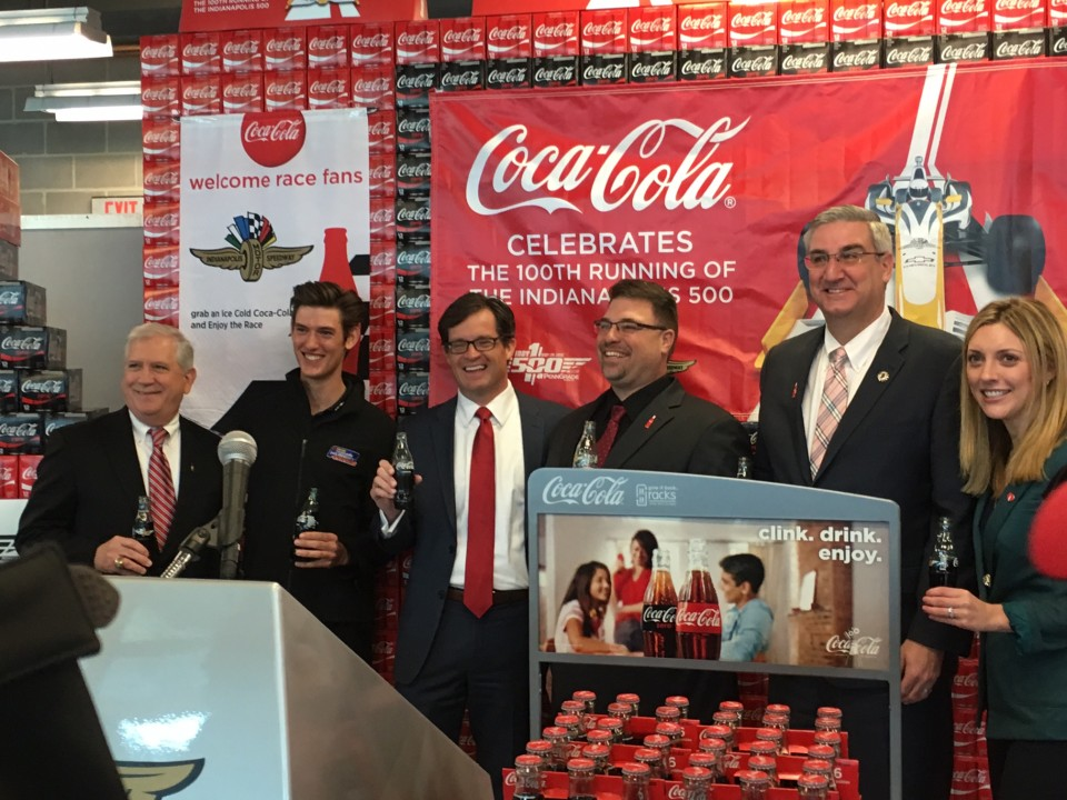 Coca-Cola's Roy Potts, PIRTEK Team Murray's Matt Brabham, IMS President, Doug Boles, Coca-Cola's Todd Marty, Lt. Governor Eric Holcomb and Coca-Cola's Jane Grout.