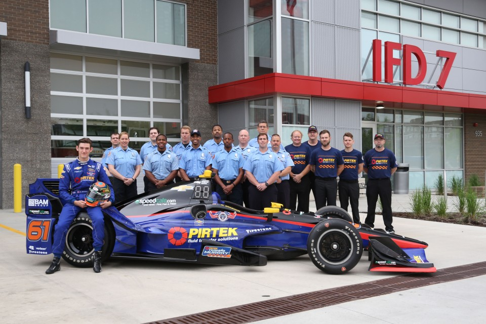 The Indy Fire Department helped Matt Brabham unveil the PIRTEK Team Murray #61
